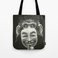 vendetta Tote Bags featuring Anonymous by Dr. Lukas Brezak