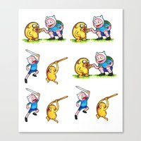 finn and jake Canvas Prints featuring  Finn&Jake  by memo_alatouly