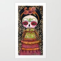 Frida The Catrina - Dia De Los Muertos Painted Skull Mixed Media Art Art Print