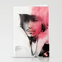 johnny depp Stationery Cards featuring Johnny Depp Artwork by E. Staugaard