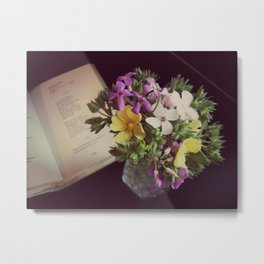 Reading Emily Dickinson with Flowers Metal Print
