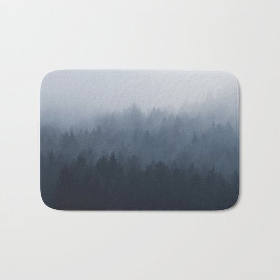 Fog in the forest Bath Mat