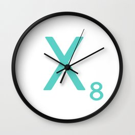 Letter X Blue Scrabble Art Wall Clock