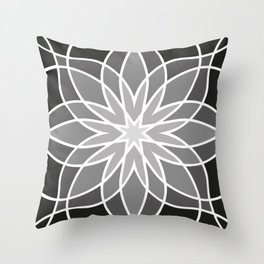 Shades of Grey | Abstract Flowers | Geometric Pattern | Black, Gray and White | Throw Pillow