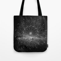 stars Tote Bags featuring STARGAZING IS LIKE TIME TRAVEL by Amanda Mocci