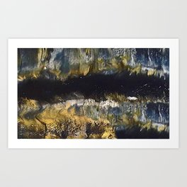 Black Gold and White Swipe Art Print