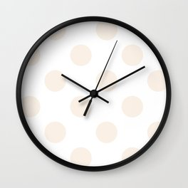 Large Polka Dots - Linen on White Wall Clock