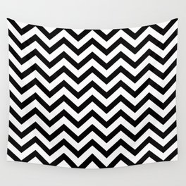 Simple Chevron Pattern - Black & White - Mix & Match with Simplicity Wall Tapestry