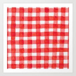 Red Watercolour checks Art Print