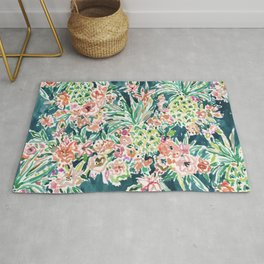 PINEAPPLE PARTY Lush Tropical Boho Floral Rug