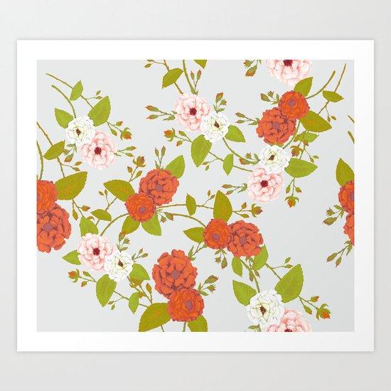 Climbing Roses, Crimson, Green, Pink and Grey Art Print