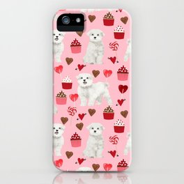 Maltese valentines day cute pet gifts for dog person maltese dog breed pattern with hearts iPhone Case