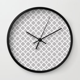 Lattice Gray on White Wall Clock
