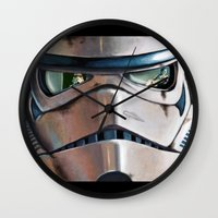 stormtrooper Wall Clocks featuring Stormtrooper by Mel Hampson