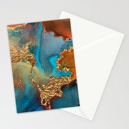 Abstract Blue And Gold Autumn Marble Stationery Cards