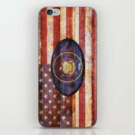 Utah and USA flag on brown wooden planks. iPhone Skin