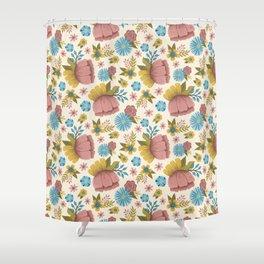 Bright Spring Folk Art Floral Pattern Shower Curtain