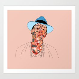 P is for Peach and Pharrell Art Print