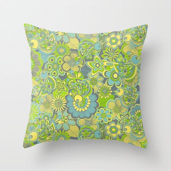 Welcome birds to...green Throw Pillow