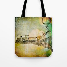 The train on Eiffel Tower Tote Bag