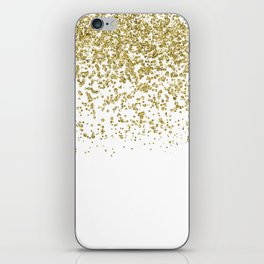 Sparkling gold glitter confetti on simple white background - Pattern iPhone Skin