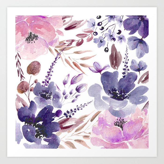 Watercolor giant flowers Art Print