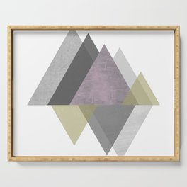 To the Mountains I Must Go, Abstract Geometric Art Serving Tray