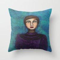 introvert Throw Pillows featuring Introvert by Leanne Schuetz Mixed Media Artist
