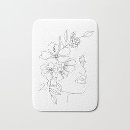 Minimal Line Art Woman Face II Bath Mat