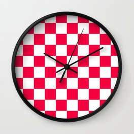Cheerful Red Checkerboard Pattern Wall Clock