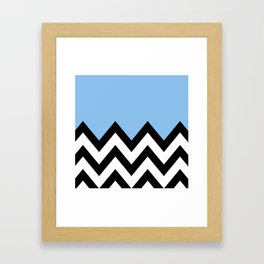 BLUE COLORBLOCK CHEVRON Framed Art Print