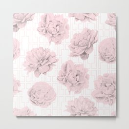 Rose Garden Pink Flamingo Mid-Century Lattice Metal Print