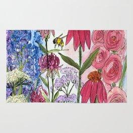 Watercolor Acrylic Cottage Garden Flowers Rug