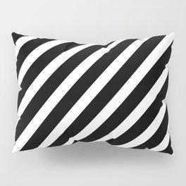 Black and White Diagonal Stripes Pillow Sham
