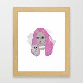 Pink & Kitten Framed Art Print