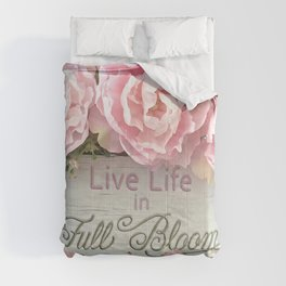 Shabby Chic Cottage Pink Peonies Inspirational Art Print Home Decor Comforters
