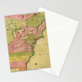 Map of North America by Kitchin, Mitchell and Millar (1755) Stationery Cards