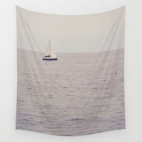 sailboat Wall Tapestries featuring Sailboat by Jessica Torres Photography