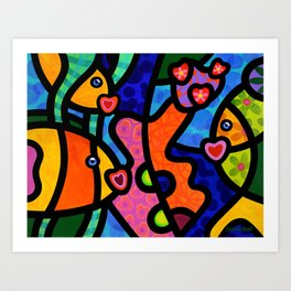 Kissing Fish Reef Art Print
