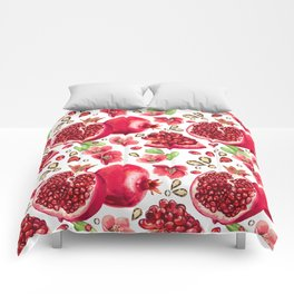 Pomegranate fruit and glass strass on a white background. Seamless pattern. Comforters