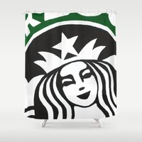 starbucks Shower Curtains featuring Starbucks Abstract by Tiffany Taimoorazy