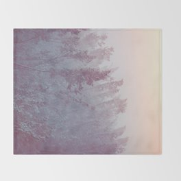Forest Fog - Snowy Mountain Trees at Sunset Throw Blanket