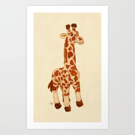 Cuddly Giraffe Watercolor Art Print
