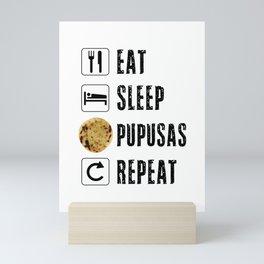 Pupusas El Salvador Gift Salvadorian Food Salvi Guanaco Eat Sleep Repeat Flag Press Mini Art Print