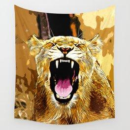 african lioness safari cat v2 vector art Wall Tapestry