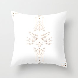 Copper White Geometric Cat Throw Pillow