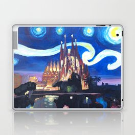 Starry Night in Barcelona - Van Gogh Inspirations with Sagrada Familia Laptop & iPad Skin