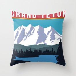 Vintage Retro Grand Teton National Park 80s Wyoming Souvenir Throw Pillow