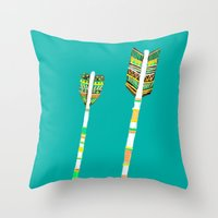 arrow Throw Pillows featuring Arrow by yuyuy