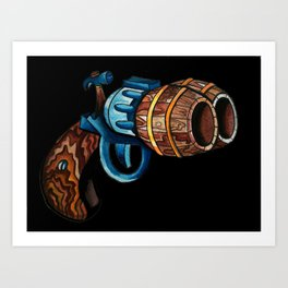 Black Double Barrell Art Print